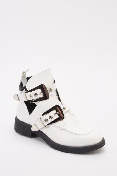 Cut Out Buckle Straps Ankle Boots