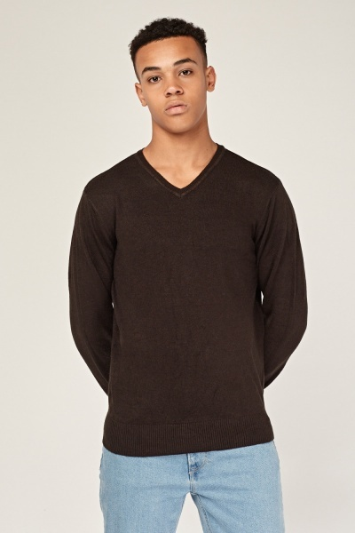 Thin Soft Knit V-Neck Pullover