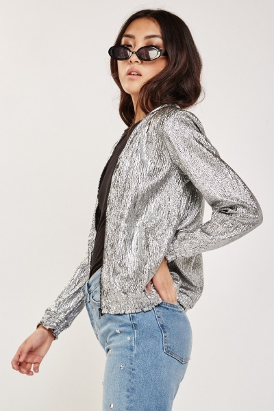 Crinkled Metallic Thin Bomber Jacket