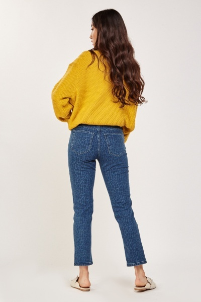 Regular Faded Pattern Denim Jeans
