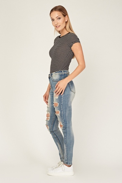 Faded Distressed Skinny Jeans