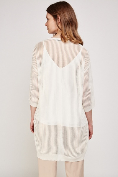 Laddered Loose Knit Cardigan