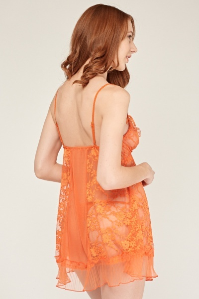Orange Chemise And Thong Set