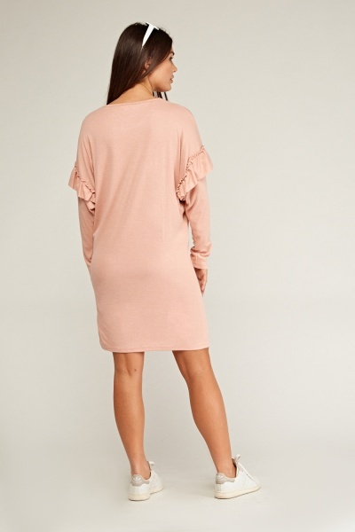 Ruffle Overlay Sleeve Dress