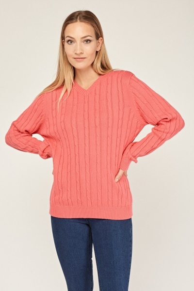 Spiral Knit Ribbed Jumper