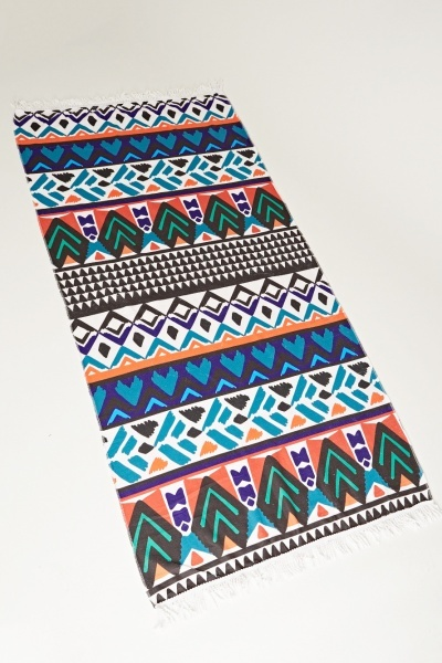 Aztec Print Fringed Beach Towel