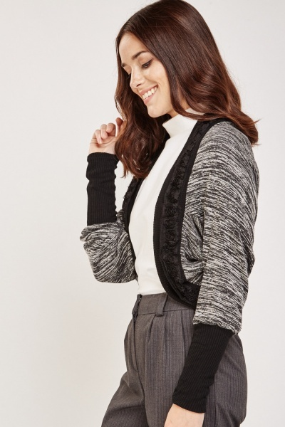 Contrasted Speckled Jersey Bolero