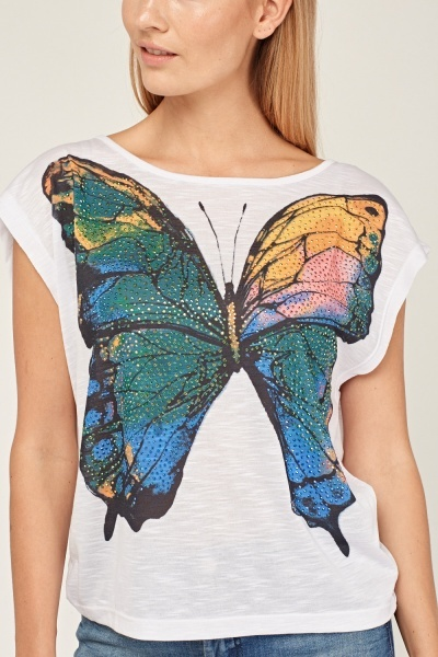 Embellished Butterfly Print Top