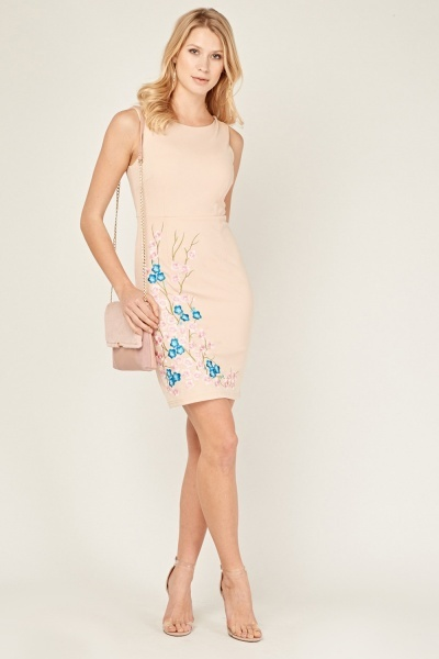 Flower Embroidered Pencil Dress