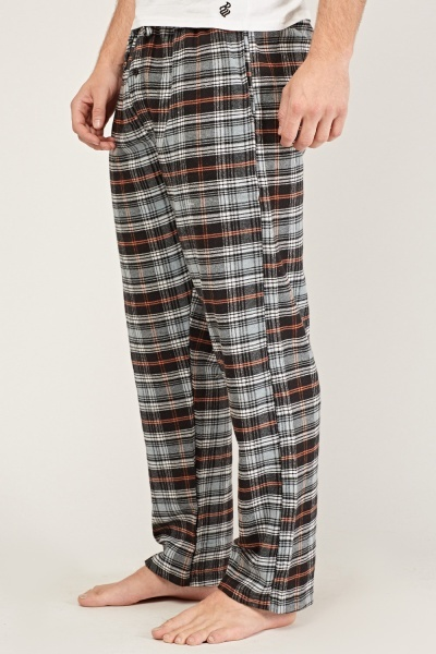 Grey Mens Checked Pyjama Trousers