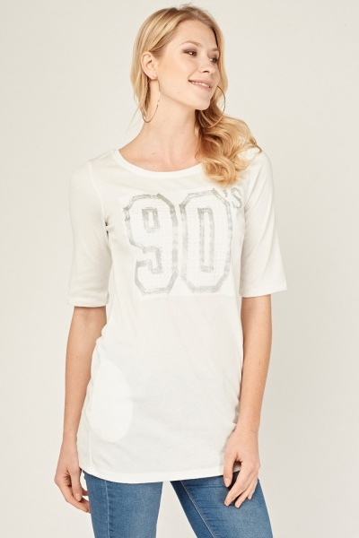 Metallic Embossed Long Jersey Top