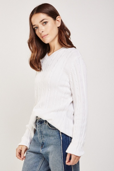 Spiral Cable Knit Jumper