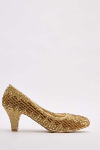 Diamante Detail Low Heel