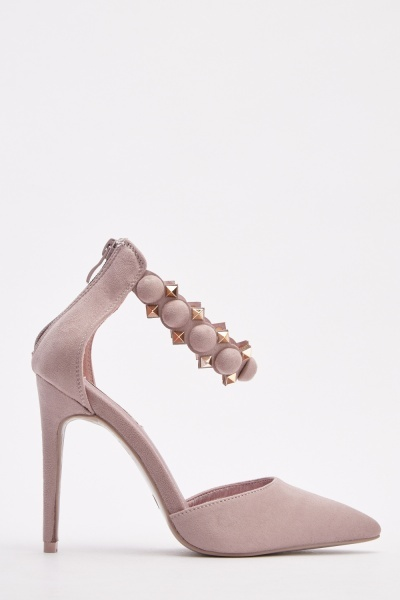 Embellished Ankle Strap Court Heels