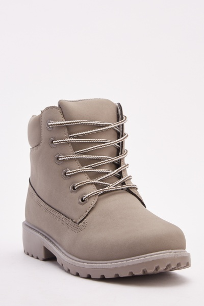Lace Up Grey Ankle Boots