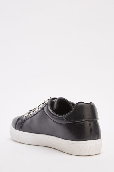 Low Top Faux Leather Plimsolls