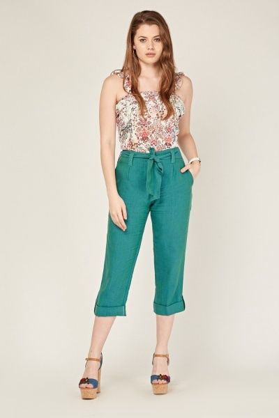Belted Crop Trousers