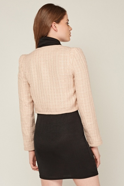 Bow Detail Crop Sparkle Tweed Jacket