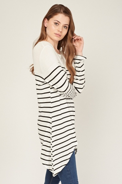 Curved Hem Long Sleeve Striped Top