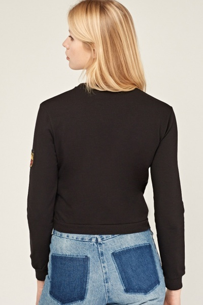 Patched Cropped Sweater