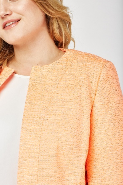 Textured Collarless Orange Blazer