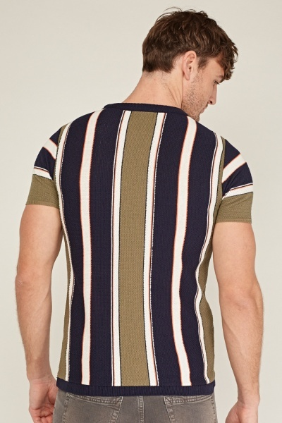 Textured Striped Mens Top