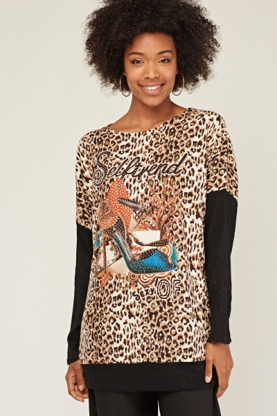 Animal Print Embellished Graphic Knit Top