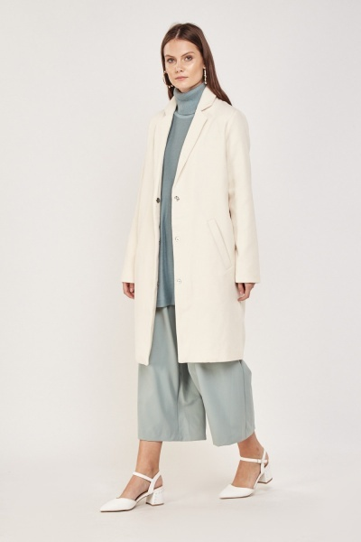 Cream Long Line Coat