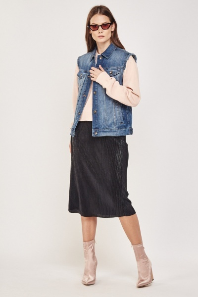Distressed Sleeveless Denim Gilet