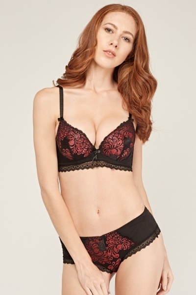 Plunge Laced Bra And Brief Set