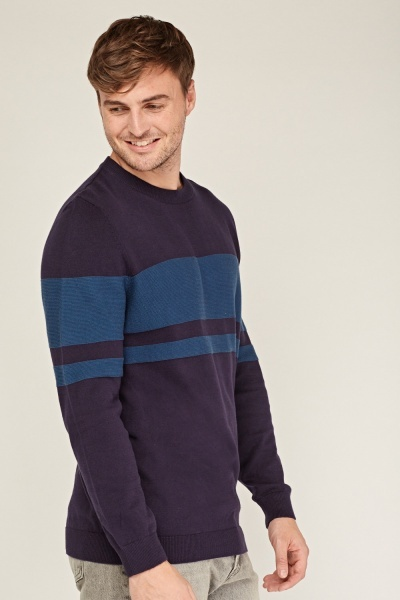 Striped Panel Knitted Jumper
