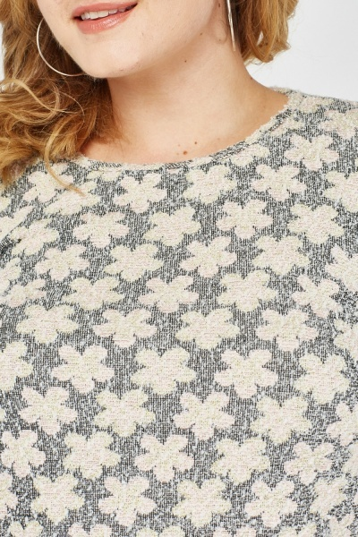 Textured Flower Embroidered Top