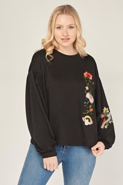 Applique Flower Casual Sweatshirt