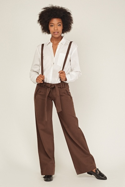 Braces Insert Wide Leg Trousers