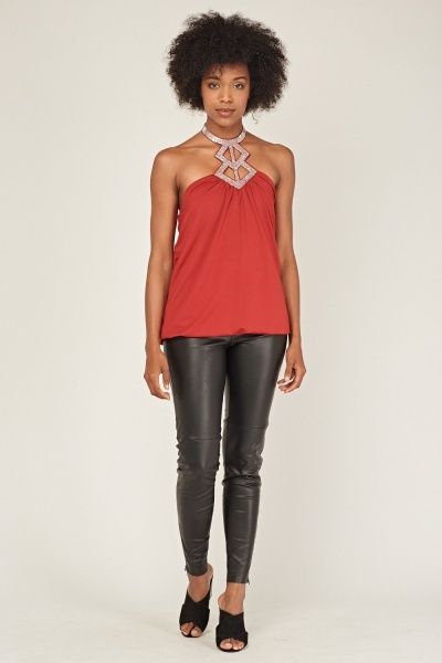 Encrusted Cut Out Halter Neck Top