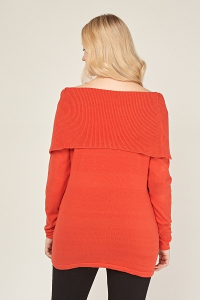 Off Shoulder Thin Knit Jumper