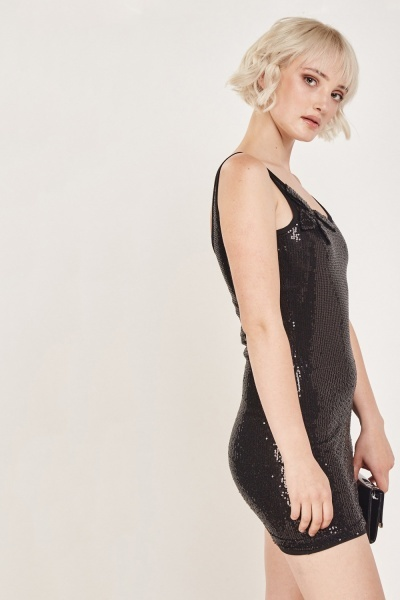 Sequin Mini Black Dress