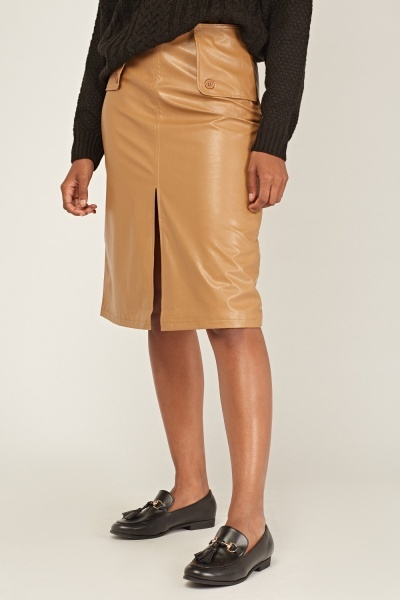 Slit Front Faux Leather Skirt