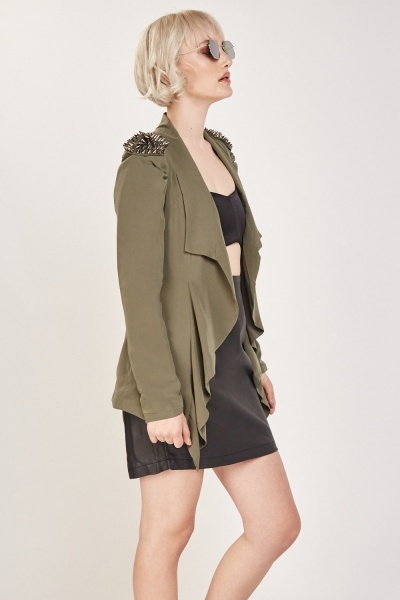 Spike Shoulder Casual  Blazer