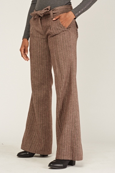 Wide Leg  Woven Stripe Trousers