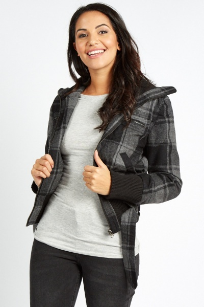 Checked Ribbed Trim Jacket