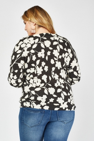 Floral Printed Knitted Cardigan