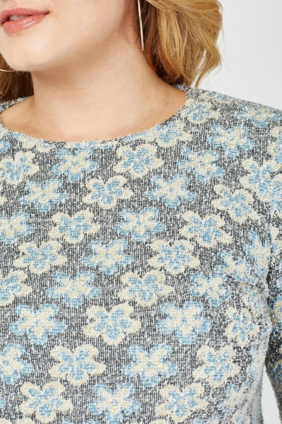Flower Embroidered Textured Top