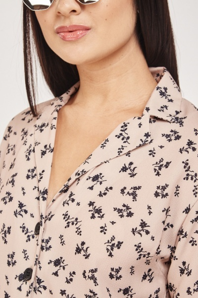 Printed Short Sleeve Blouse