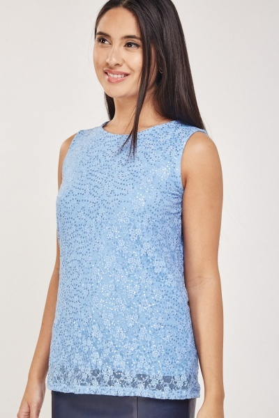 Sequin Lace Overlay Shell Top