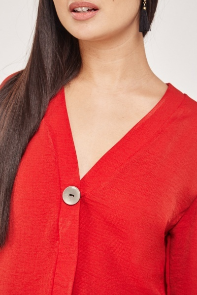 Single Button Front Blouse