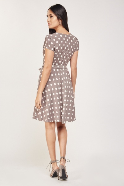 Cap Sleeve Polka Dot Dress