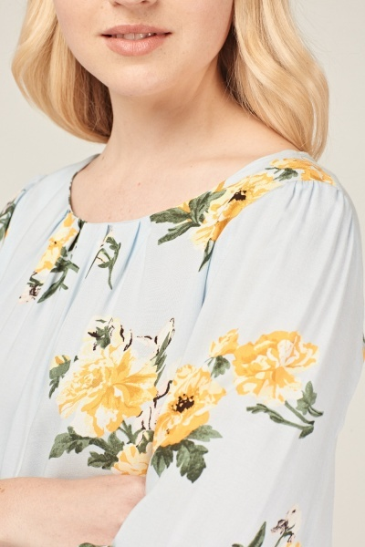 Floral Frilly Sleeve Blouse