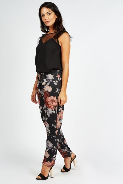 Floral Printed Elastic Trousers