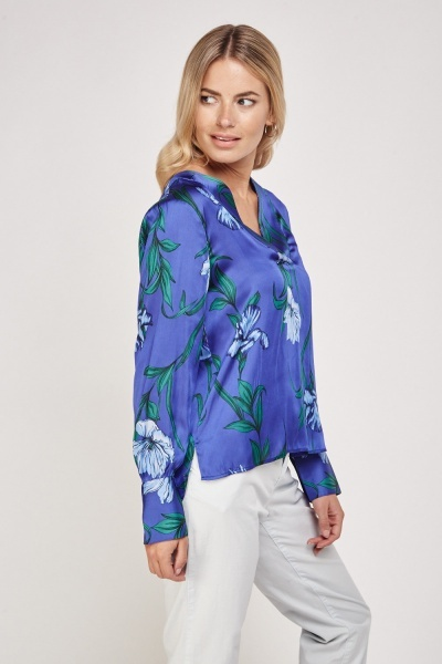 Floral Printed Sateen Blouse
